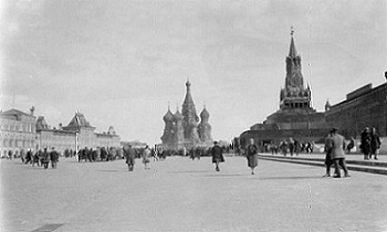 Moscow, view of Red Square with St. Basil Cathedral and Spasskaya Tower, 1931